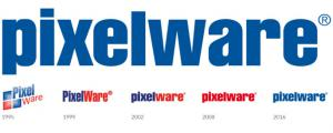 Evolución a lo largo de años del logo y los colores corporativos de PIXELWARE