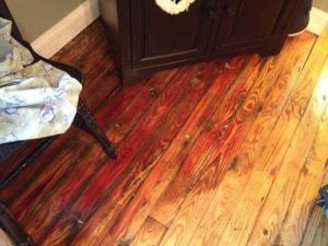 Hard wood floor discoloration