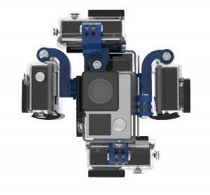 Uni360 universal 360 video rig positioned in a portrait orientation.