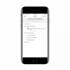 BoardBookit iPhone App Agenda Screen