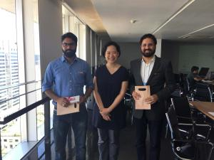 Abhishek (L) & Jappreet (R) from YoStartups with Prof. Natcha (C) from CU Innovation Hub Team