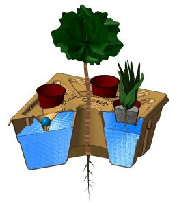 The Growboxx® plant cocoon - an intelligent bucket made from paper pulp to plant trees in combination with shrubs, vegetables or wildflowers in a sustainable and water saving way