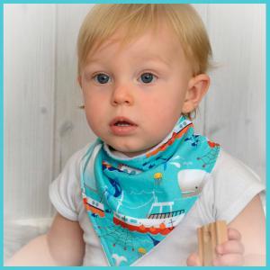 High Seas Collection bandana bib on baby