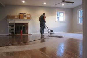 Buffing out the hard wood floor