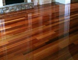 the refinished wood floor