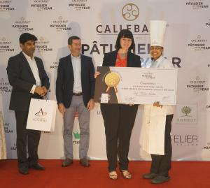 Pascale Meulemeester, Vice President for Global Gourmet, Barry Callebaut AG giving win price to Chef Alisha Faleiro.jpg