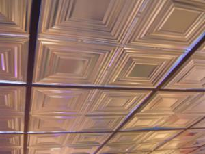 12 inch pattern lightens up this suspended ceiling