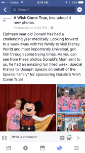 Donald and his family enjoyed a great trip to Disney courtesy of the Spiezio family of Mt Vernon