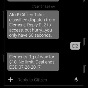 A user response to receive an exclusive cannabis deal on the Citizen Toke platform.