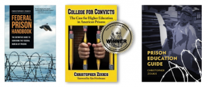 Three images of Christopher's Zoukis' book covers, Federal Prison Handbook, College for Convicts and Prison Education Guide