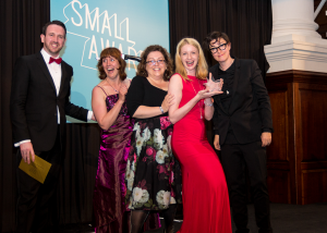 The Red herring Games team at their most recent award win - being presented their award by Sue Perkins
